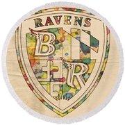 Baltimore Ravens Logo Art Round Beach Towel