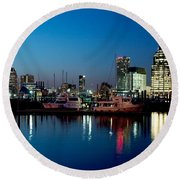Baltimore Skyline At Dusk Round Beach Towel