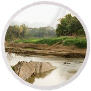Bamboo Bridge At The Tip Of The Luang Round Beach Towel