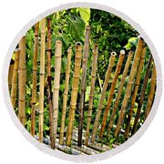 Bamboo Fencing Round Beach Towel by Lilliana Mendez