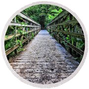 Bamboo Forest Bridge Round Beach Towel