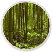 Bamboo Forest Twilight  Round Beach Towel