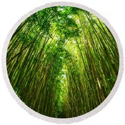 Bamboo Sky - The Magical And Mysterious Bamboo Forest Of Maui. Round Beach Towel