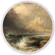 Bamborough Castle Round Beach Towel by William Andrews Nesfield