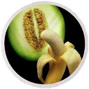 Banana And Honeydew Round Beach Towel
