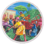 Banana Delivery In Cameroon 01 Round Beach Towel