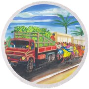 Banana Delivery In Cameroon 02 Round Beach Towel