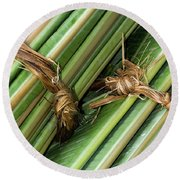 Banana Leaves Round Beach Towel