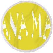 Banana Manna - Yellow - Color - Letter Art Round Beach Towel
