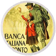Banca Italiana Di Sconto, 1917 Round Beach Towel