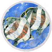 Banded Butterflyfish Round Beach Towel