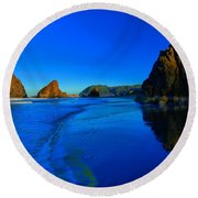 Bandon Blue And Gold Round Beach Towel