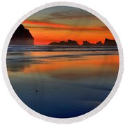Bandon Foggy Fire Round Beach Towel