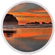 Bandon Orange Pastels Round Beach Towel