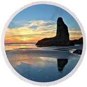 Bandon Oregon Sunset Round Beach Towel by Adam Jewell