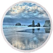 Bandon Sea Stack Reflections Round Beach Towel