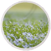 Bands Of Blue Round Beach Towel