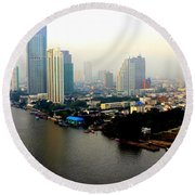 Bangkok In Early Morning Light Round Beach Towel