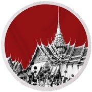 Bangkok Thailand Skyline Grand Palace - Dark Red Round Beach Towel
