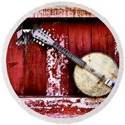 Banjo Mandolin - American Music Round Beach Towel