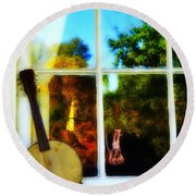 Banjo Mandolin In The Window Round Beach Towel