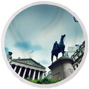Bank Of England The Royal Exchange And The Wellington Statue Londonuk Round Beach Towel
