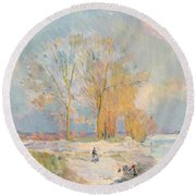 Banks Of The Seine And Vernon In Winter Round Beach Towel by Albert Charles Lebourg