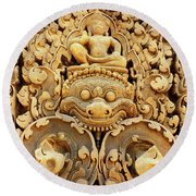 Banteay Srei Carving 01 Round Beach Towel