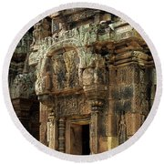 Banteay Srei Temple 01 Round Beach Towel