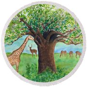 Baobab And Giraffe Round Beach Towel