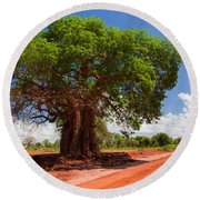 Baobab Tree On Red Soil Road Round Beach Towel