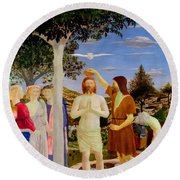 Baptism Of Christ - Oil On Canvas Round Beach Towel