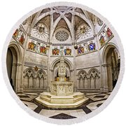 Baptistry At Saint John The Divine Cathedral Round Beach Towel