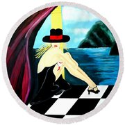 Bar Scene Lady With Hat By The Water Round Beach Towel
