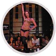 Bar Top Dancer In Las Vegas Round Beach Towel