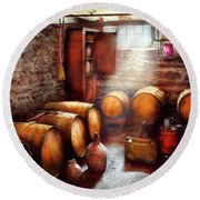 Bar - Wine - The Wine Cellar  Round Beach Towel by Mike Savad
