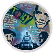 Barack And Common And Kanye Round Beach Towel