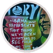 Barack And Fifty Cent Round Beach Towel