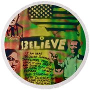Barack And Martin And Malcolm Round Beach Towel