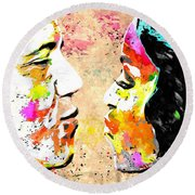 Barack And Michelle  Round Beach Towel by Daniel Janda