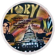 Barack And Russell Simmons Round Beach Towel