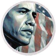 Barack Obama Artwork 2 B Round Beach Towel by Sheraz A