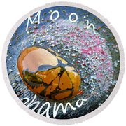 Barack Obama Moon Round Beach Towel by Augusta Stylianou