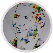 Barack Obama Paint Drops Round Beach Towel