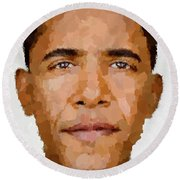 Barack Obama Round Beach Towel by Samuel Majcen