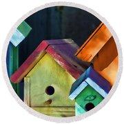 Barbara's Birdhouses Round Beach Towel