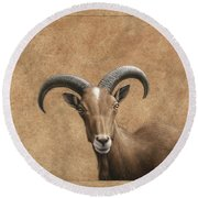 Barbary Ram Round Beach Towel