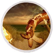 Barbecue On The Beach Round Beach Towel