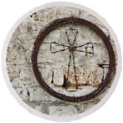Barbed Wire Cross Round Beach Towel
