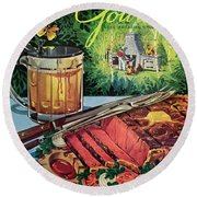 Barbeque Meat And A Mug Of Beer Round Beach Towel
